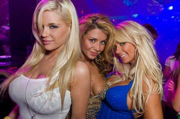 blonde girls partying in club