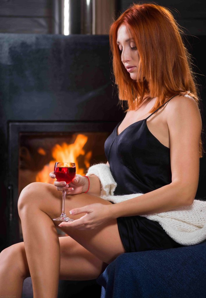 Classy Lady With Red Wine